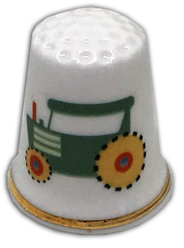 child's tractor personalised china thimble