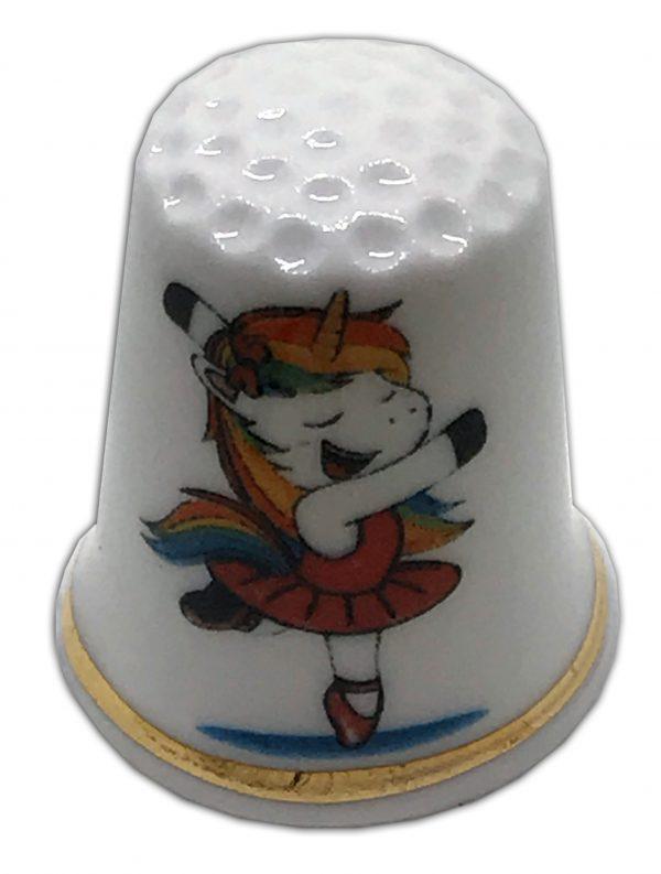 unicorn themed personalised china thimble