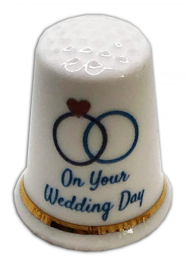 on your wedding day personalised china thimble