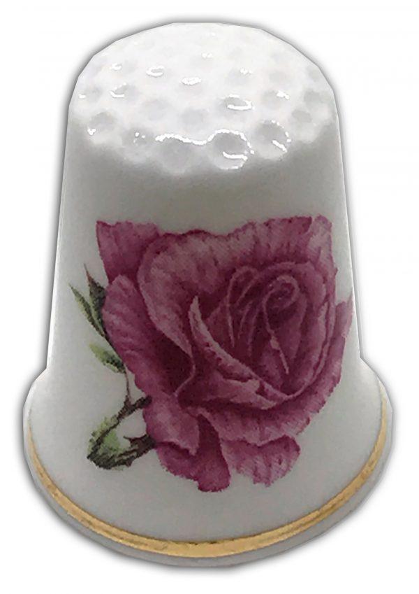 anniversary rose maroon personalised thimble
