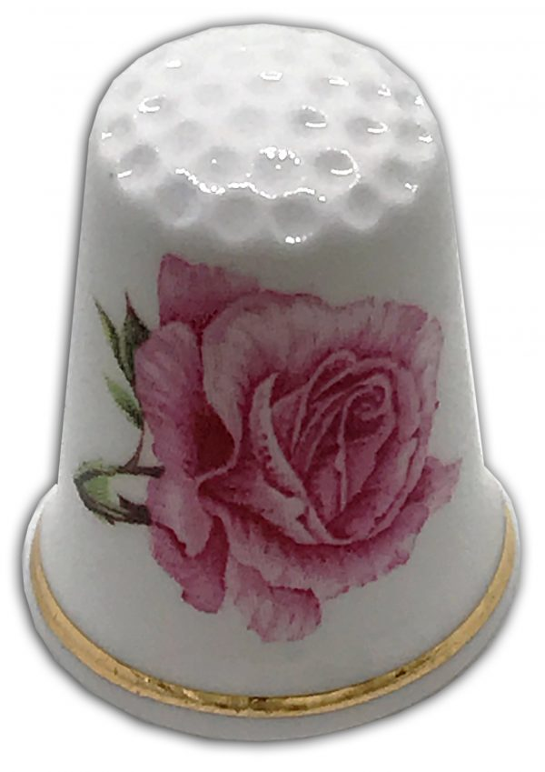 anniversary rose pink personalised thimble