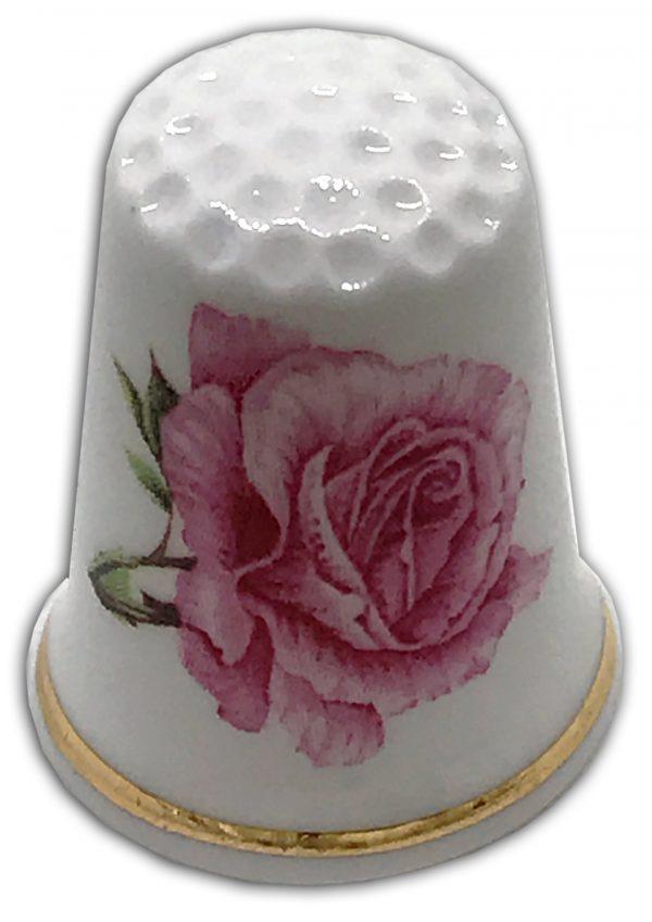 anniversary rose pink personalised thimble