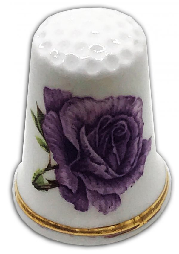 anniversary rose purple personalised thimble