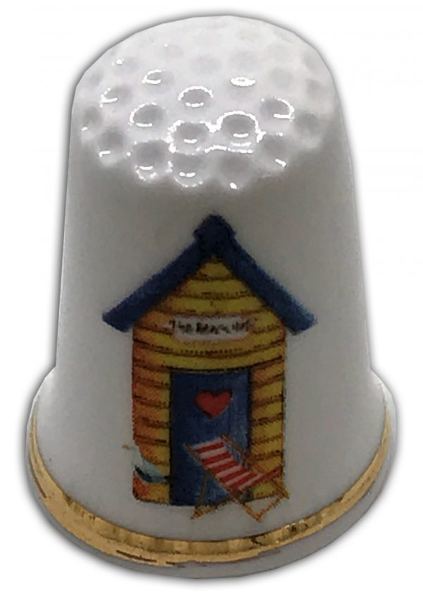 beach hut themed fine bone china personalised thimble