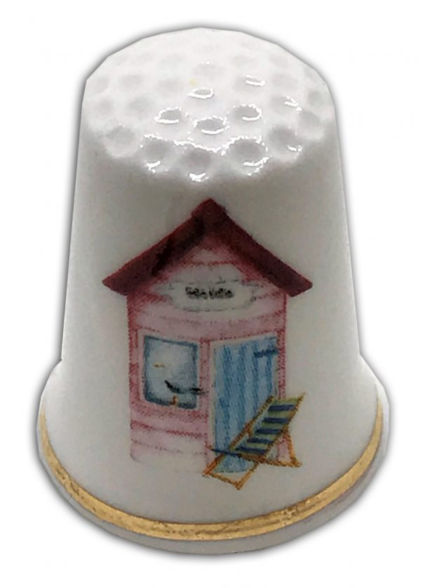 beach hut themed fine bone china personalised thimble