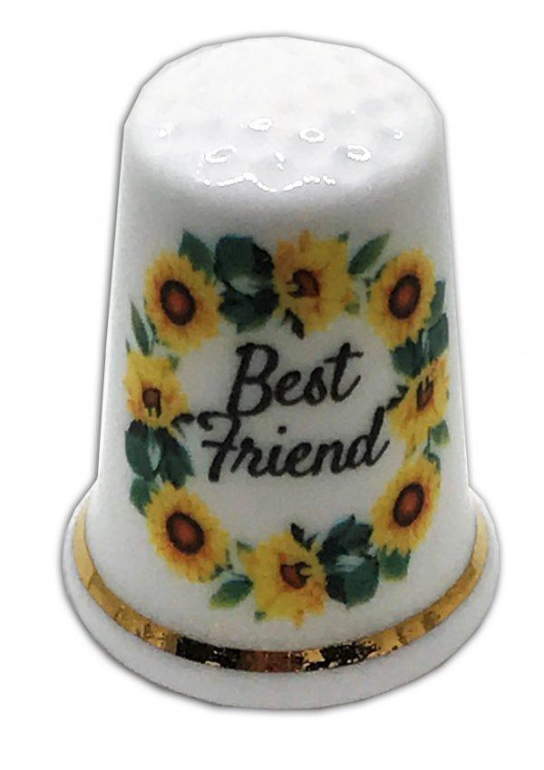best friend sunflowers personalised china thimble