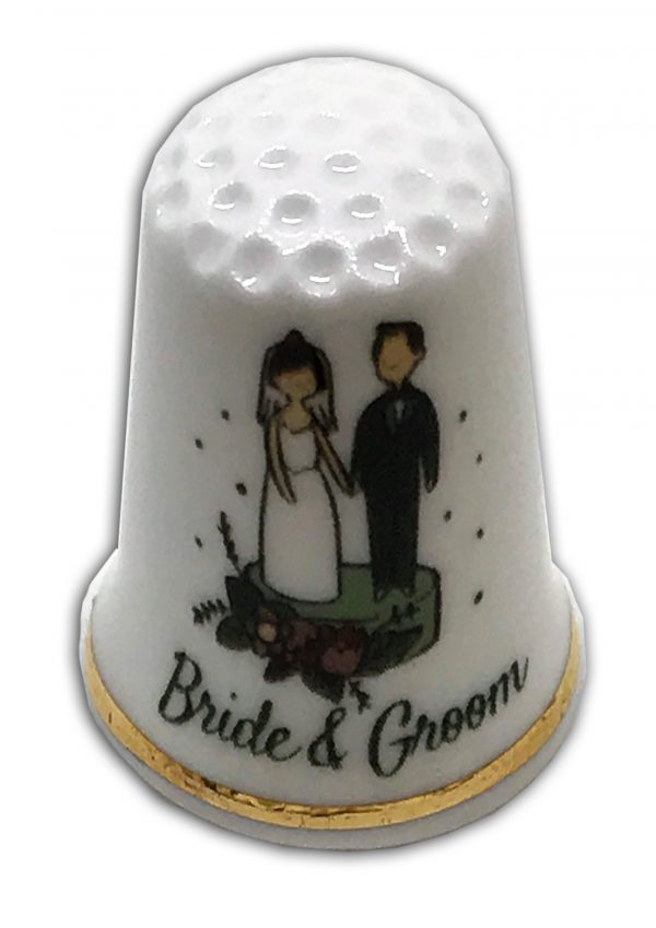 bride and groom cake topper personalised thimble
