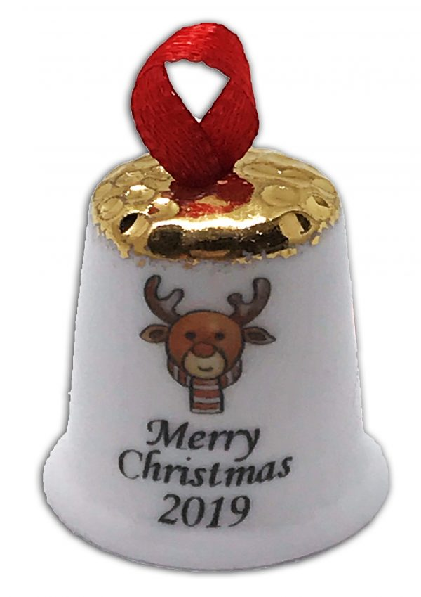 personalised Christmas Reindeer China Thimble