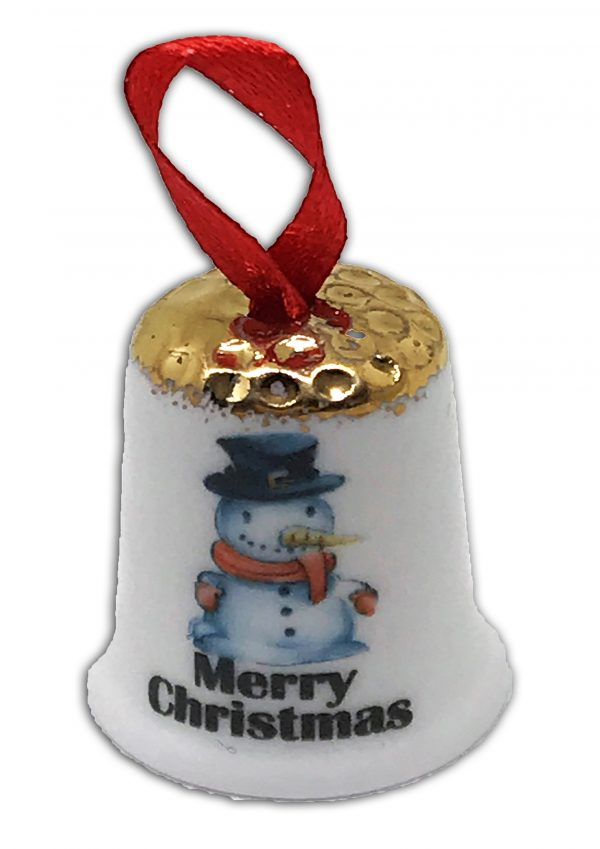 hanging Christmas thimble, personalised snowman thimble