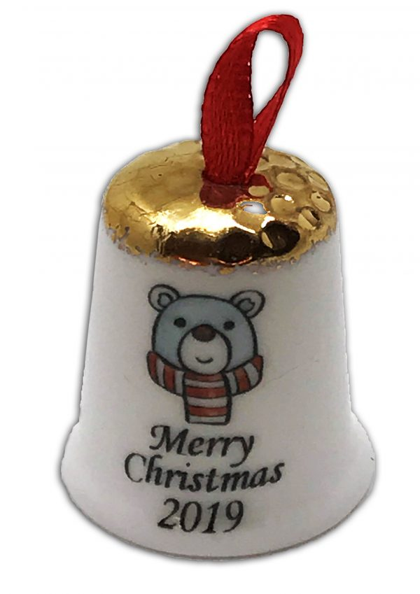 hanging Christmas thimble, personalised Polar Bear thimble