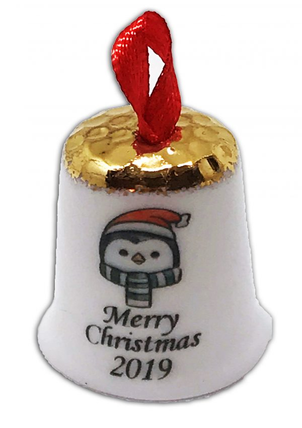 hanging Christmas thimble, personalised penguin thimble