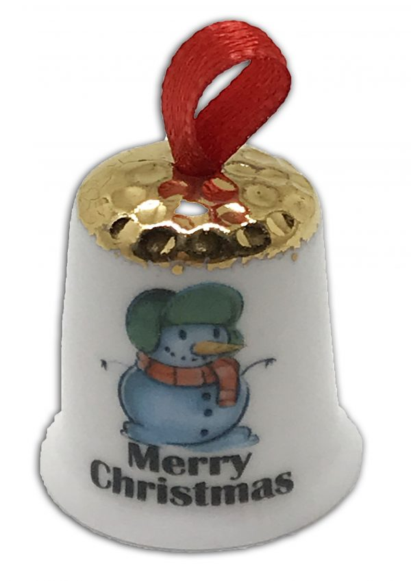 hanging Christmas thimble, personalised snowman thimble