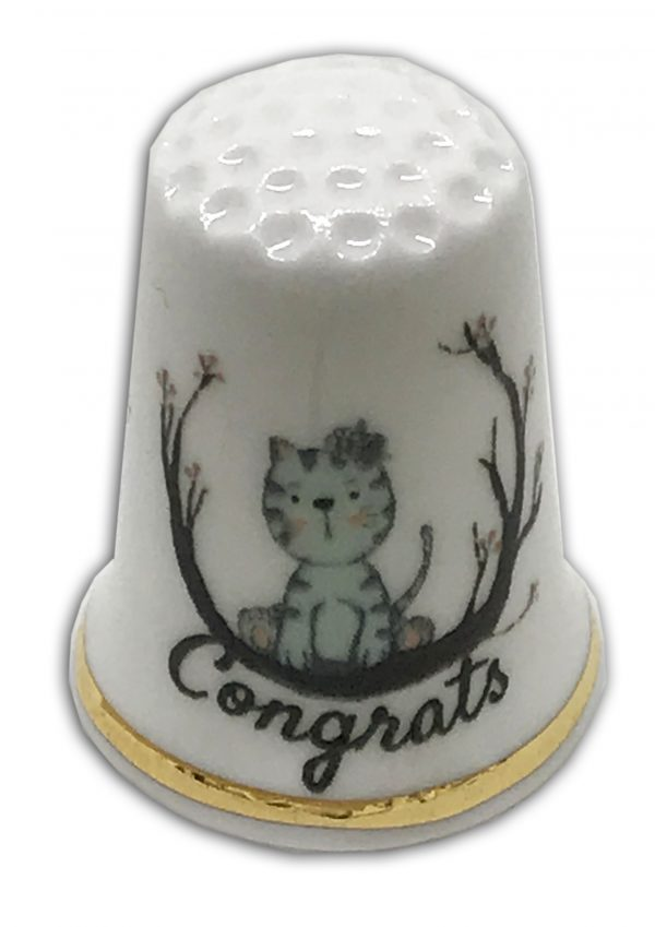 cat and congratulations personalised thimble