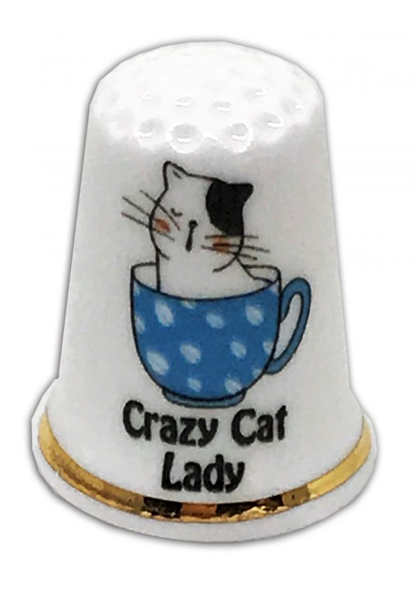 crazy cat lady personalised china thimble