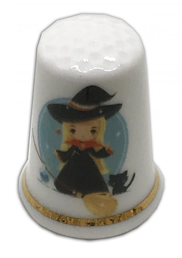 cute witch personalised china thimble
