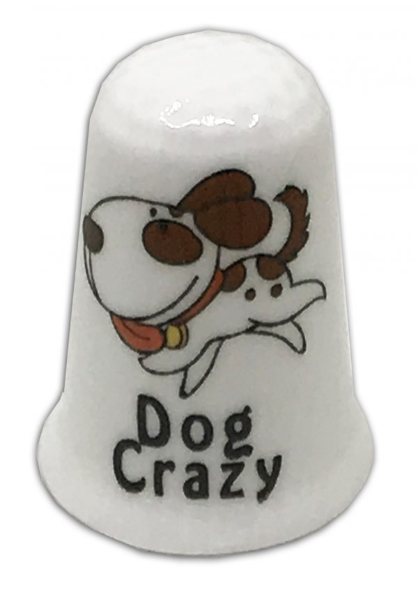 dog crazy personalised china thimble