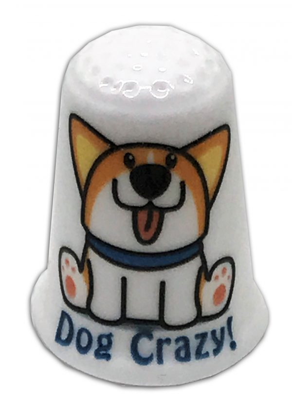 dog crazy Corgi personalised china thimble
