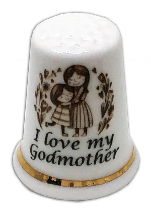 godmother personalised china thimble