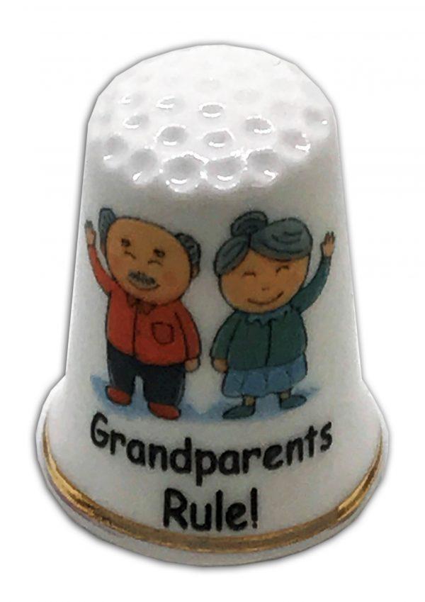 grandparents rule personalised china thimble