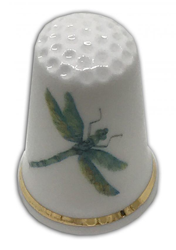 green dragonfly personalised china thimble