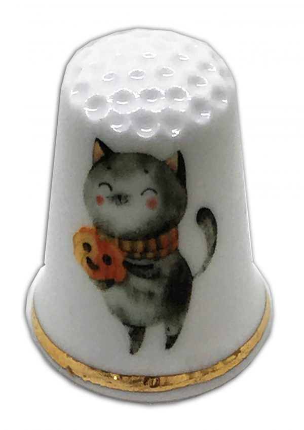 halloween cat personalised china thimble