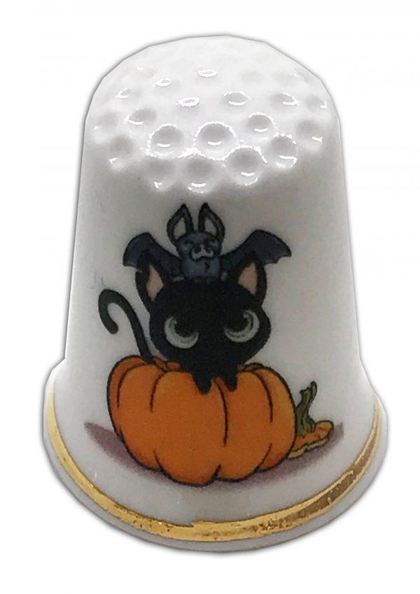 halloween themed personalised china thimble