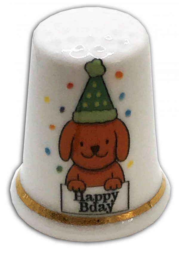 happy birthday personalised thimble
