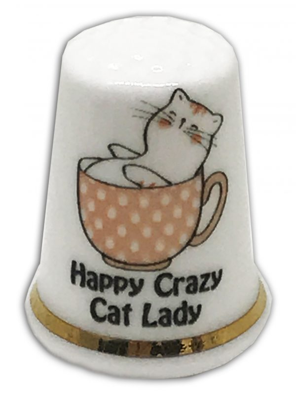 happy crazy cat lady personalised china thimble