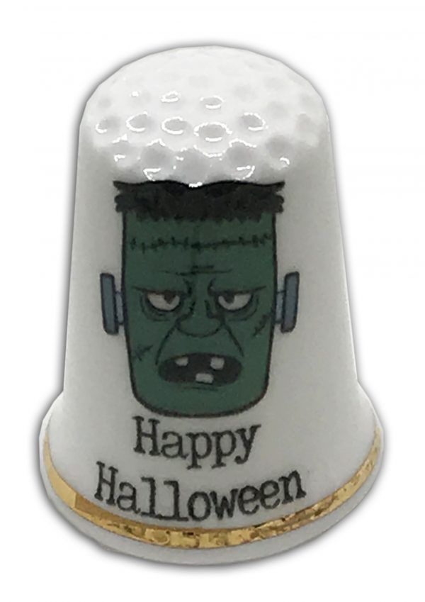 Halloween themed personalised china thimble Frankenstein