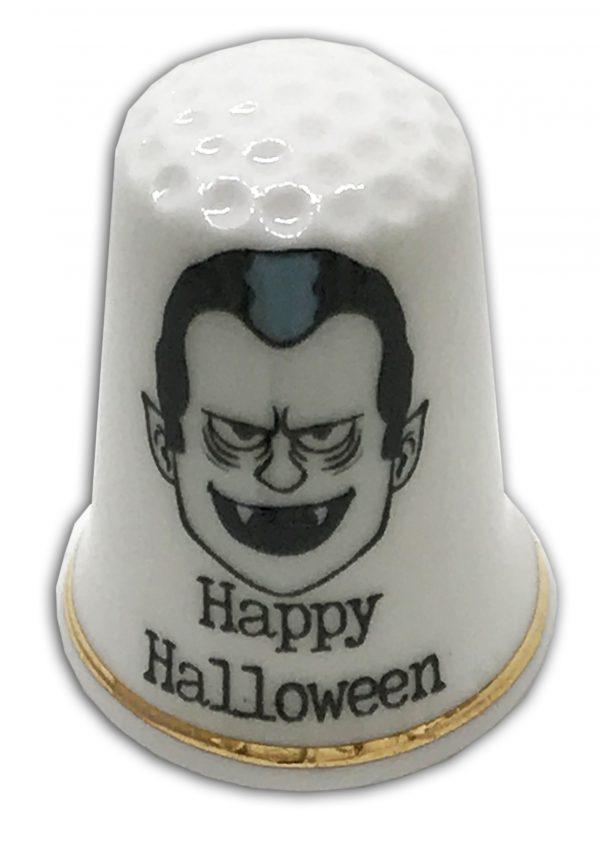 Halloween themed personalised china thimble Dracula