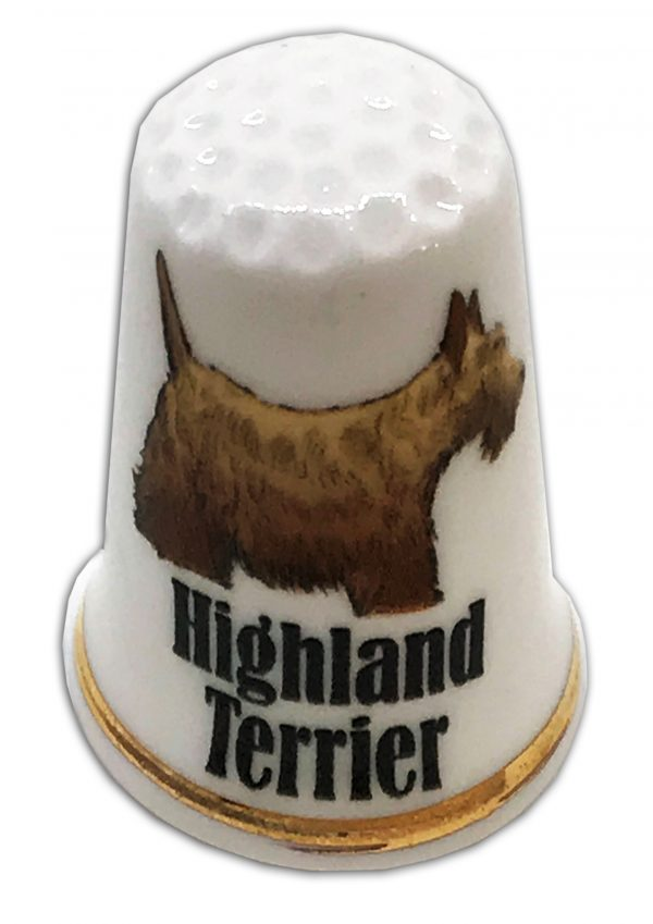 west highland terrier personalised china thimble