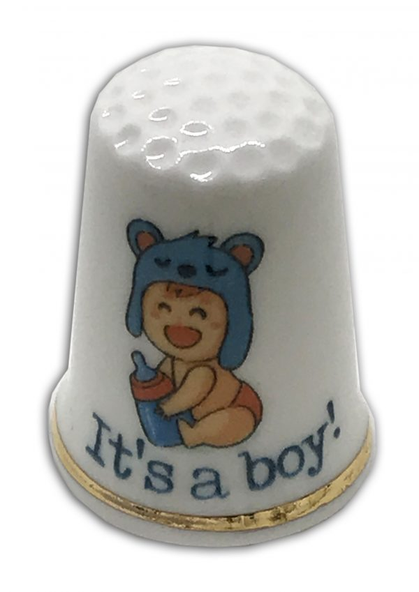 baby boy personalised china thimble