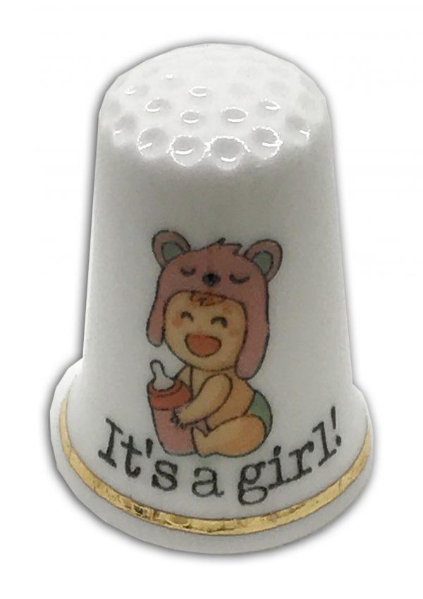 baby girl personalised china thimble