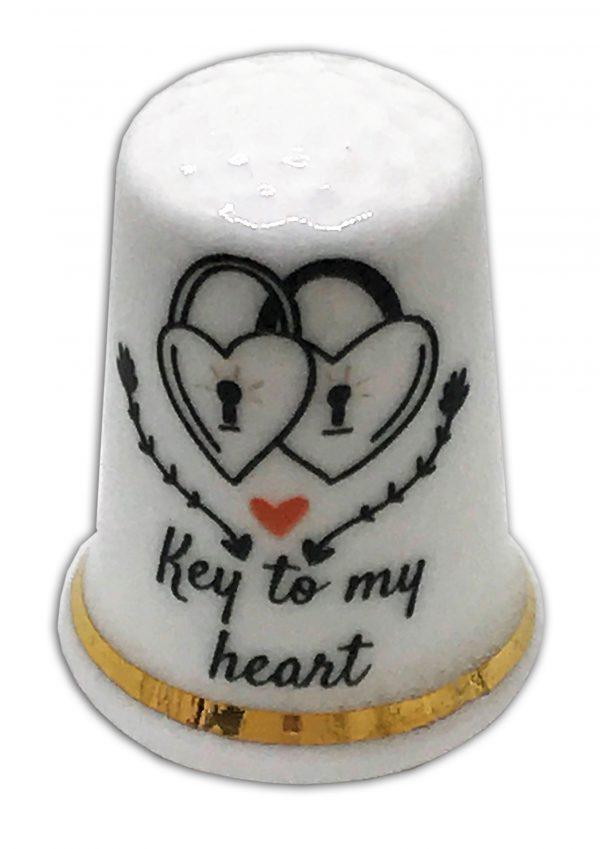 key to my heart wedding engagement thimble