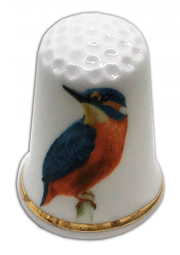 kingfisher personalised china thimble