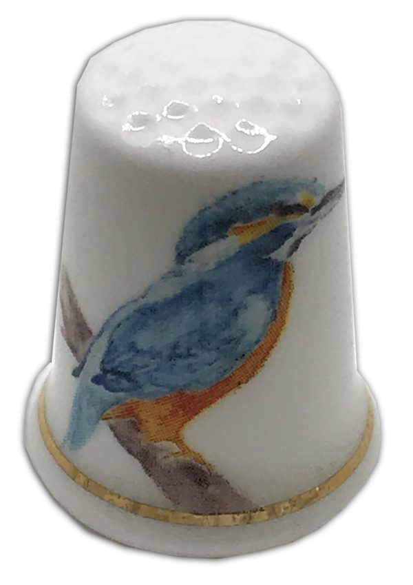 kingfisher bird personalised china thimble