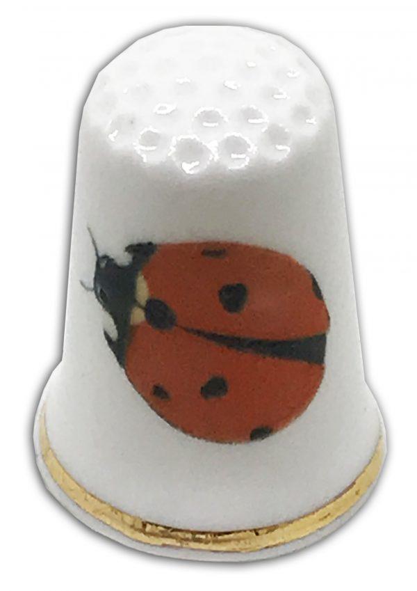 ladybird personalised china thimble