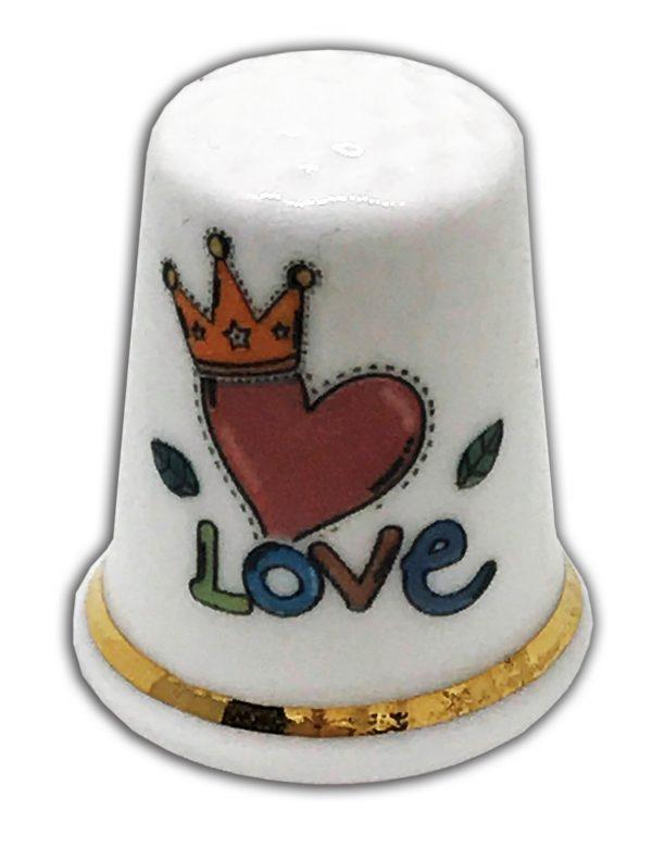 personalised love themed china thimble, wedding anniversary valentine's gift