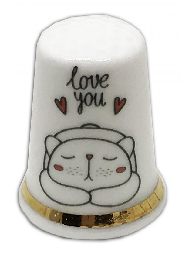 love you cat personalised china thimble