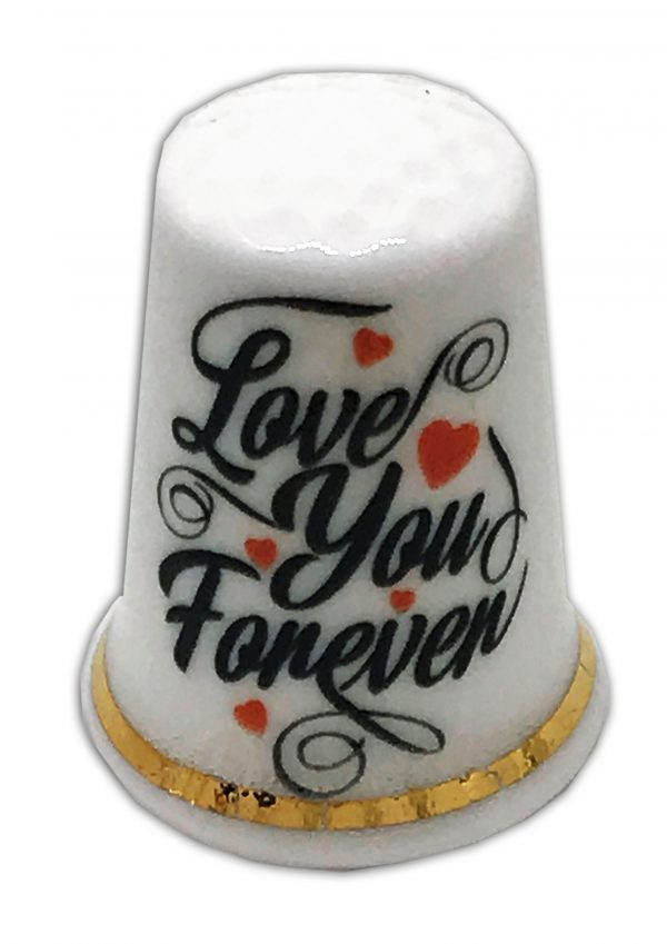 love you forever personalised china thimble