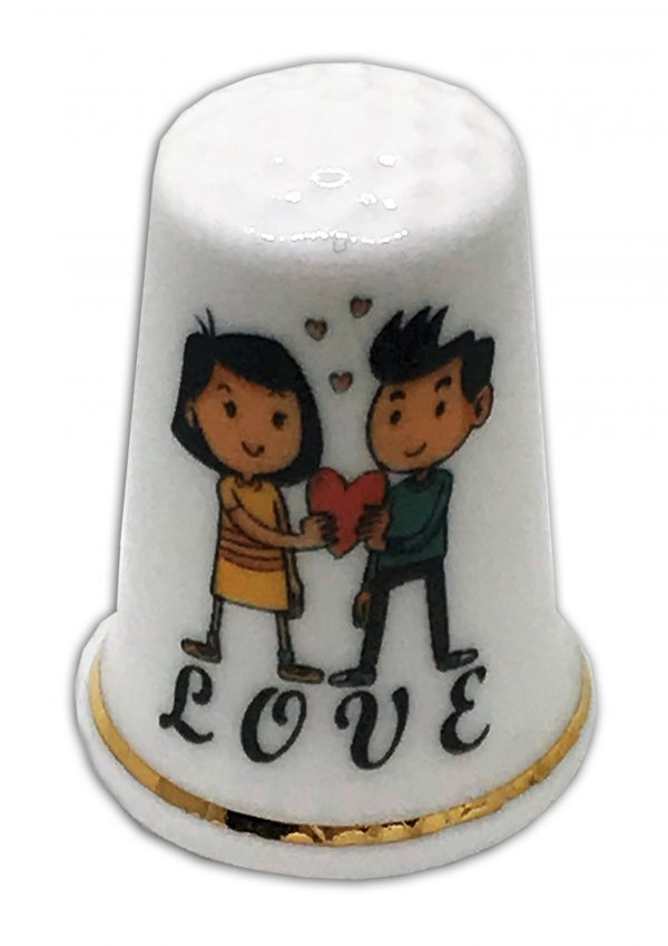 romantic love themed china thimble