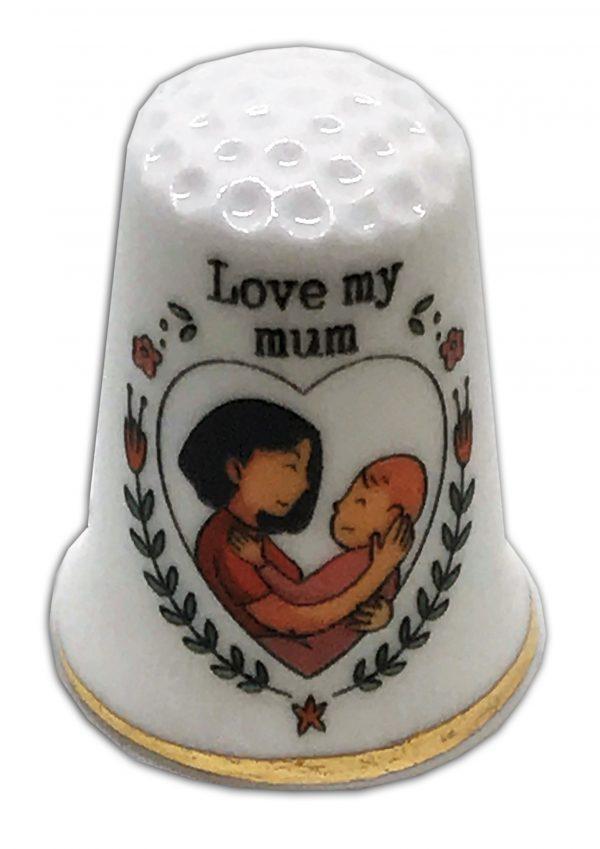 Love My Mum Mother's Day China Thimble