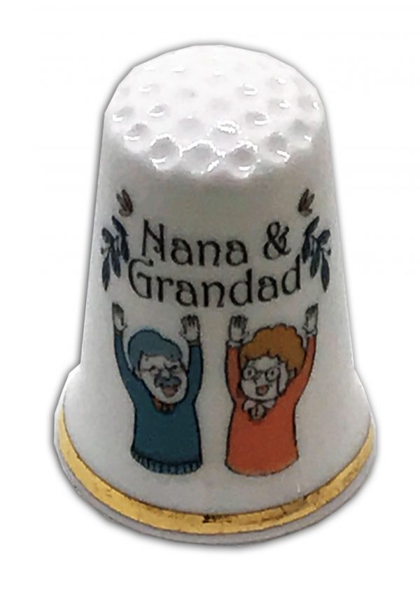nana & grandad personalised china thimble
