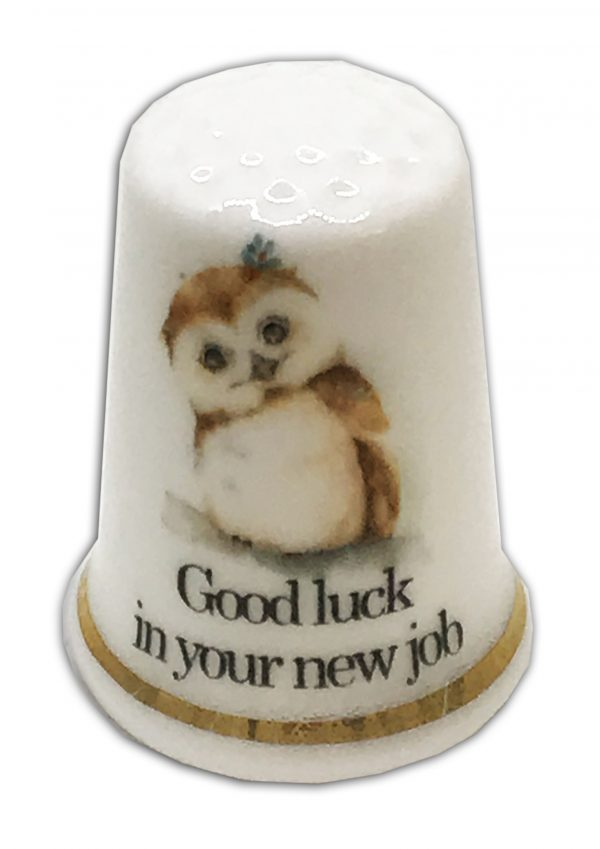 new job personalised owl thimble