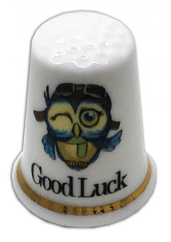 owl good luck personalised china thimble