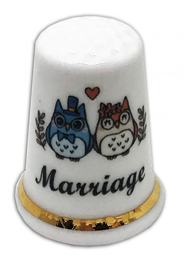 owl marriage personalised china thimble
