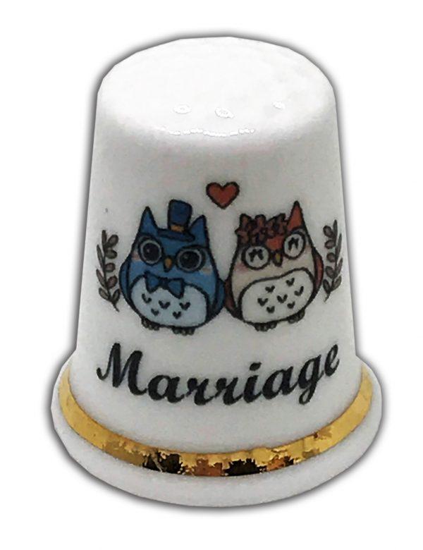 personalised owl marriage china thimble, wedding anniversary gift