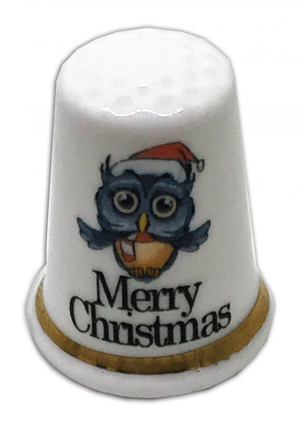 owl merry christmas personalised gift thimble