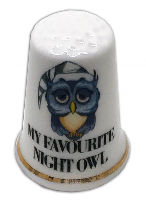 personalised night owl china gift thimble