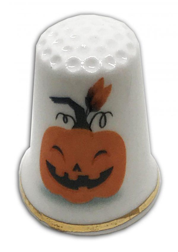 halloween themed pumpkin personalised thimble